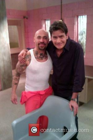 Aldo Gonzalez posted this image of Charlie Sheen on Twitter with the caption: '@charliesheen had a blast working with you....