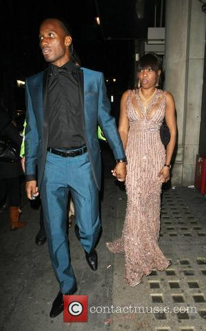 Didier Drogba and his wife Alla arrive at China White club after attending The Didier Drogba Foundation Charity Ball London,...