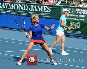 Elizabeth Shue  participates in the Chris Evert / Raymond James Pro- Celebrity Tennis Classic at the Delray Tennis Center...