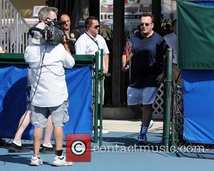 Tom Arnold participates in the Chris Evert / Raymond James Pro- Celebrity Tennis Classic at the Delray Tennis Center in...