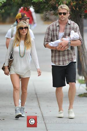 Elsa Pataky, husband Chris Hemsworth and their daughter India Rose out and about in Santa Monica. Chris looks smitten as...