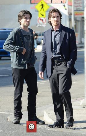 Wes Bentley and Christian Bale  filming a documentary about homeless people on Skid Road in downtown Los Angeles....