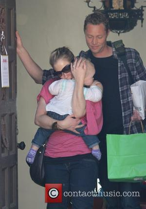 Christina Applegate and Martyn LeNoble leave a friends home with their daughter Sadie Grace LeNoble  Los Feliz, California -...