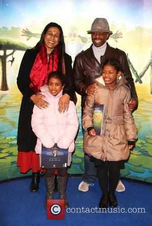 Adrian Lester with his wife and family 'Cirque du Soleil: TOTEM' premiere at the Royal Albert Hall - Arrivals London,...