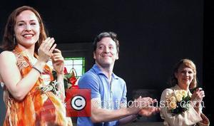 Sarah Goldberg, Jeremy Shamos and Christina Kirk Closing night curtain call for the Broadway play 'Clybourne Park' at the Walter...