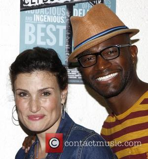 Idina Menzel and Taye Diggs Backstage at the Broadway play 'Clybourne Park' at the Walter Kerr Theatre New York City,...