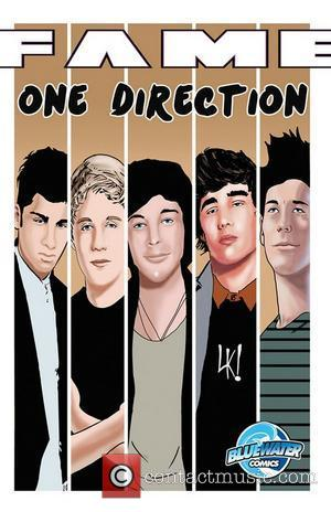 Covers of graphic novels called FAME by Bluewater Productions of One Direction, Katy Perry, Nick Jonas and Cody Simpson...