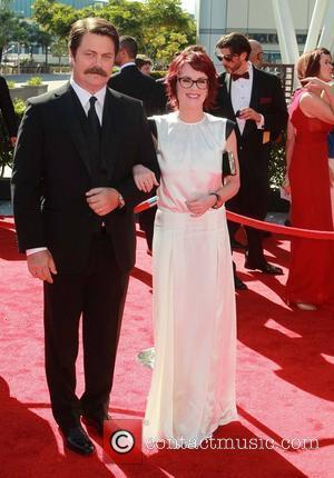 Nick Offerman, Megan Mullally 2012 Creative Arts Emmy Awards, held at Nokia Theatre - Arrivals Los Angeles, California - 15.09.12