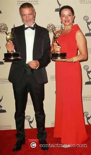 Mario Michisanti, Francesca Tampieri   2012 Creative Arts Emmy Awards held at the Nokia Theatre - Press Room Los...