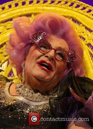 Barry Humphries attends a photocall and press conference in the guise of Dame Edna Everage on the eve of his...