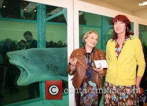 Janet Street-Porter and Guest Damien Hirst Exhibition Private View at Tate Modern  London, England - 03.04.12