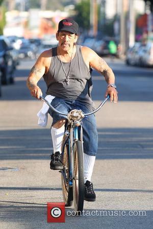 Danny Trejo riding his Classic Beach Cruiser Los Angeles, California - 04.09.12