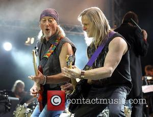 Deep Purple's Roger Glover(left) and Steve Morse(right) performing on stage at the O2 Arena as part of Deep Purple with...