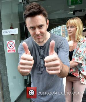 Glen Power of The Script Amanda Byram & The Script were guests on the 'Dermot & Dave Show' on 98FM...