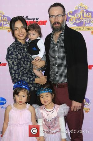 Jason Lee, wife Ceren Alkac, son Sonny, daughter Casper Los Angeles premiere of Disney Channel's 'Sofia The First: Once Upon...