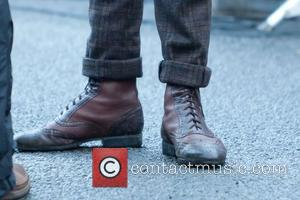Matt Smith's dapper brogue boots on the set of the BBC's Doctor Who TV series Wales - 02.07.12