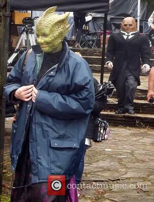 Neve McIntosh as Madame Vastra the Silurian and Dan Starkey as Strax,  filming the BBC Christmas Special of Doctor...