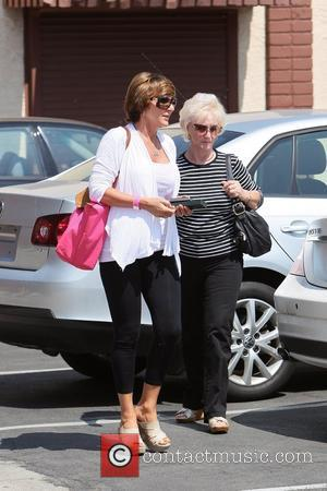 Derek Hough is visited by his mother and grandmother and bring him a gift Celebrities seen outside the rehearsal space...