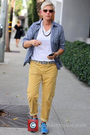 Ellen DeGeneres  exits Salon Benjamin in West Hollywood sporting new blue athletic training shoes. Los Angeles, California- 21.09.12