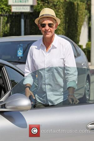 Ellen DeGeneres out and about wearing a straw trilby hat Los Angeles, California - 21.08.12