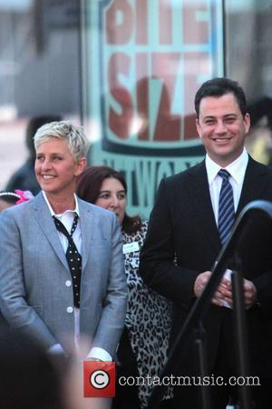 Ellen DeGeneres, Jimmy Kimmel Ellen DeGeneres is honored with a star on The Hollywood Walk Of Fame Los Angeles, California...
