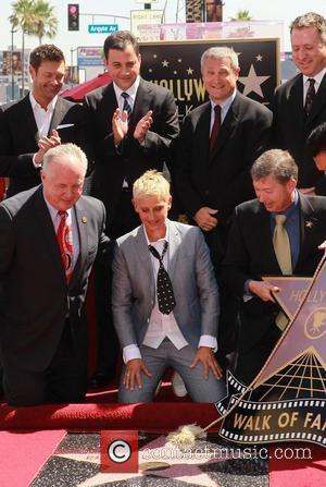 Ryan Seacrest, Ellen Degeneres, Jimmy Kimmel and Star On The Hollywood Walk Of Fame