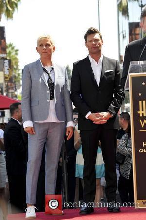 Ellen DeGeneres, Ryan Seacrest Ellen DeGeneres is honored with a star on The Hollywood Walk Of Fame Los Angeles, California...