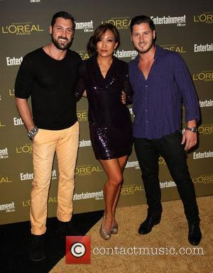 Maksim Chmerkovskiy, Carrie Ann Inaba, and Valentin Chmerkovskiy 2012 Entertainment Weekly Pre-Emmy Party at the Fig & Olive  West...
