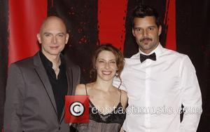 Michael Cerveris, Elena Roger and Ricky Martin  Press conference after the first preview performance of the Broadway musical 'Evita'...