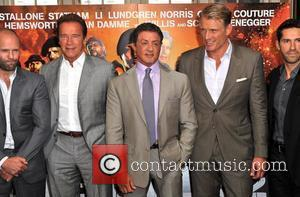 Arnold Schwarzeneggar, Sylvester Stallone, Dolph Lundgren and Stuart Adkins The Expendables 2 - photocall held at Simpson's on the Strand...
