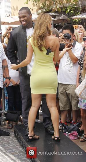 50 Cent and Extra host Maria Menounos,  at The Grove to appear on entertainment news show 'Extra' Los Angeles,...
