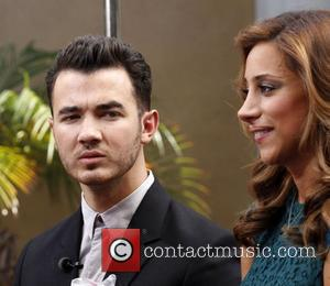 Kevin Jonas and wife Danielle Deleasa at The Grove to appear on entertainment news show 'Extra'  Los Angeles, California...
