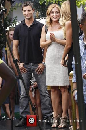 Colin Egglesfield and Sasha Alexander  Celebrities at The Grove to appear on entertainment news show 'Extra' with host Mario...