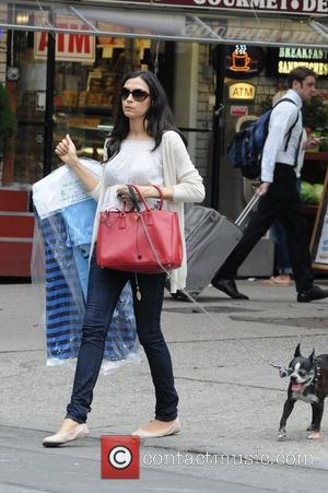 Actress Famke Janssen seen in SoHo walking her dog while holding her clothes from the dry cleaners New York City,...