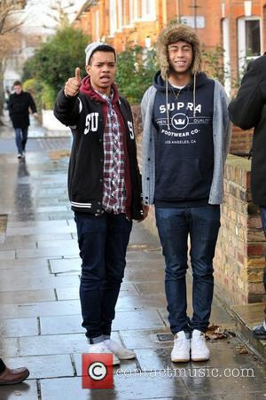 Harley Sylvester Alexander-Sule and Jordan Rizzle Stephens of Rizzle Kicks arriving at Fearne Cotton's house for her Christmas Party London,...