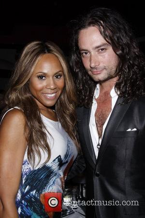 Deborah Cox and Constantine Maroulis  backstage at the 'Frank Wildhorn and Friends' concert, held at Birdland Jazz Club New...