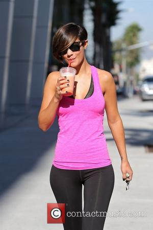 br>Frankie Sandford is seen getting a smoothie  after having a gym workout. Los Angeles, California - 29.09.12