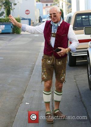 Frederic Prinz von Anhalt exits Cafe Roma in Beverly Hills wearing a Lederhosen Beverly Hills, California - 03.12.11