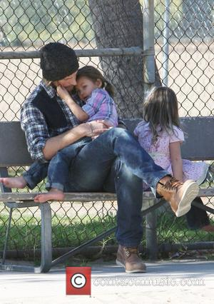 Gabriel Aubry with his daughter Nahla having fun at the park. Los Angeles, California - 28.12.11