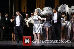 Jared Grimes, Megan Sikora and Phillip Attmore Curtain call for the first performance of the Encores! concert of 'Gentlemen Prefer...