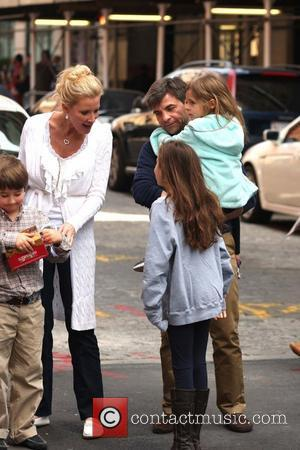 ABC journalist George Stephanopoulos is seen out and about with this two daughters New York City, USA - 14.04.12