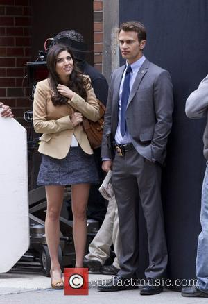 Amanda Setton and Theo James on Location for the TV pilot of Golden Boy New York City, USA - 10.04.12