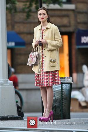 Leighton Meester filming a scene for her television series 'Gossip Girl' in the Upper East Side, Manhattan. New York City,...