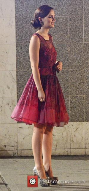 Leighton Meester on the set of 'Gossip Girl' during a night shoot New York City, USA - 02.08.12