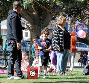 Kingston Rossdale  tries to break a pinata as he attends a party in the park Los Angeles, California -...