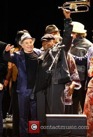 Paul Simon and Hugh Masakela,  perform the album 'Graceland' live at Hard Rock Calling in Hyde Park - Day...