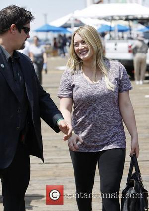 Mike Comrie and Hilary Duff new mom Hilary Duff attends a charity cycling event with her sister in Santa Monica...