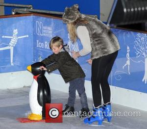 Stacey Solomon and son, Zachary  Natural History Museum Ice Rink launch party - Inside  London, England - 01.11.12