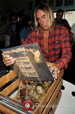 Iggy Pop appears on his 65th Birthday as the official Record Store Day Ambassador during National Record Store Day at...