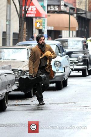 Oscar Isaac  on the set of 'Inside Llewyn Davis' filming on location in Manhatan  New York, USA -...